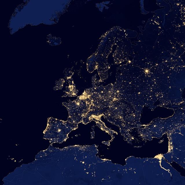 europe night satellite-550181_640